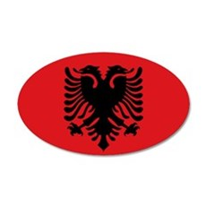 Albanian flag 35x21 Oval Wall Decal