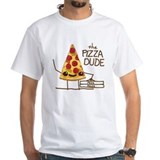 Pizza Mens White T-shirts