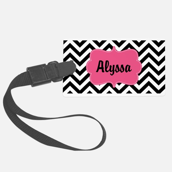 Black Pink Chevron Personalized Large Luggage Tag