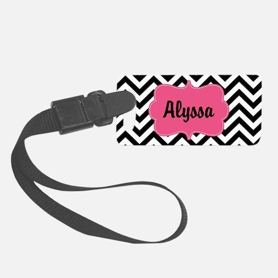 Black Pink Chevron Personalized Luggage Tag