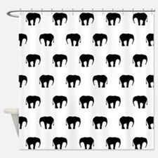 Black And White Elephants, Shower Curtain