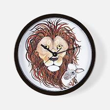 Peek-a-boo lamb with lion Wall Clock