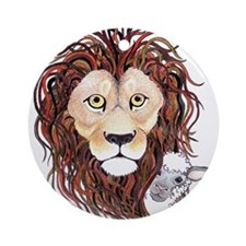 Peek-a-boo lamb with lion Ornament (Round)
