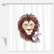 Peek-a-boo lamb with lion Shower Curtain