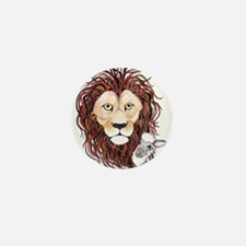 Peek-a-boo lamb with lion Mini Button