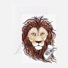 Peek-a-boo lamb with lion Greeting Cards