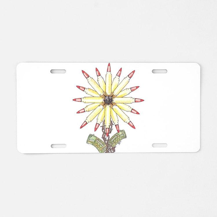 Freedom Flower Aluminum License Plate