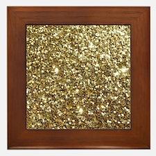 Realistic Gold Sparkle Glitter Framed Tile