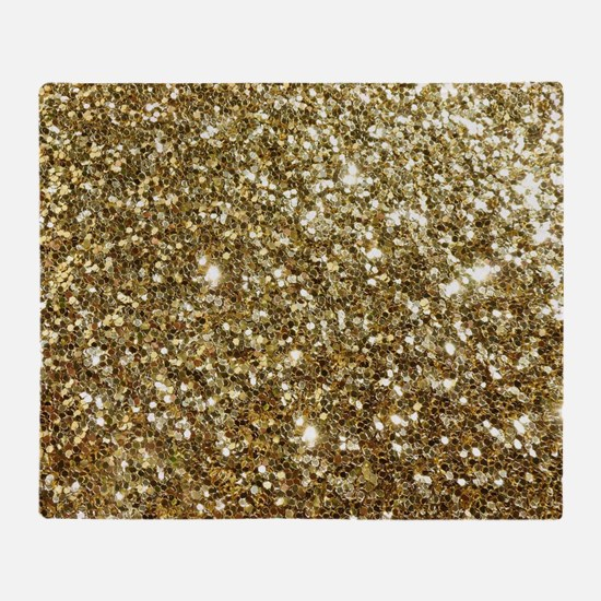 Realistic Gold Sparkle Glitter Throw Blanket