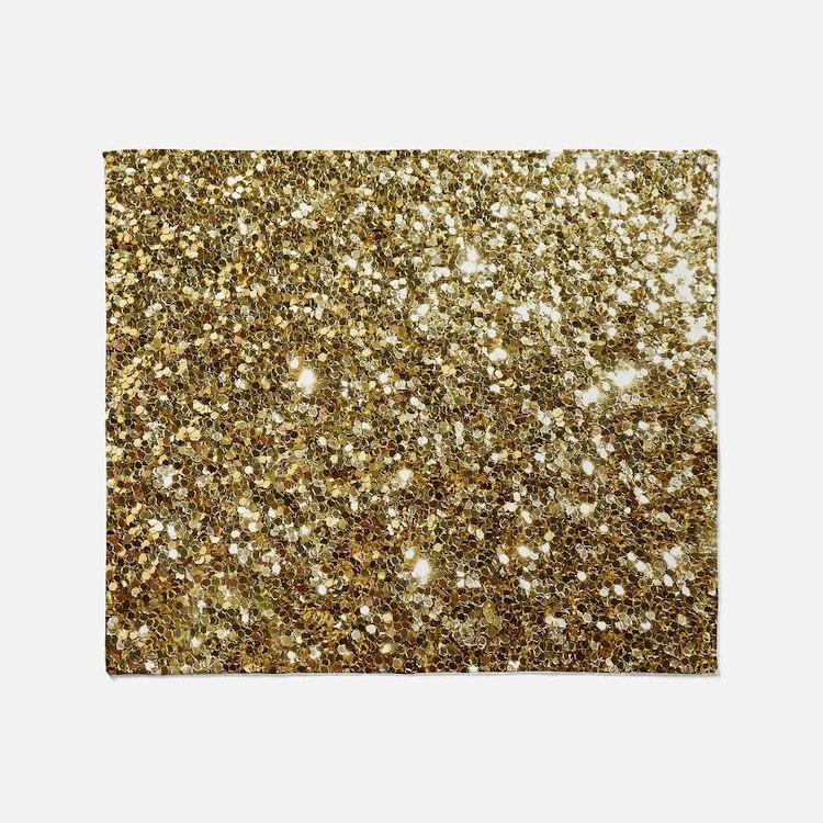 Realistic Gold Sparkle Glitter Throw Blanket
