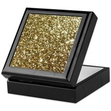 Realistic Gold Sparkle Glitter Keepsake Box