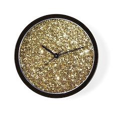 Realistic Gold Sparkle Glitter Wall Clock