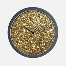 Realistic Gold Sparkle Glitter Wall Clock