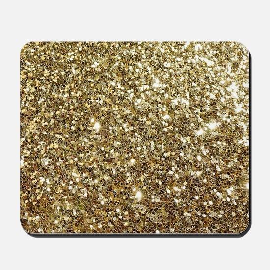 Realistic Gold Sparkle Glitter Mousepad