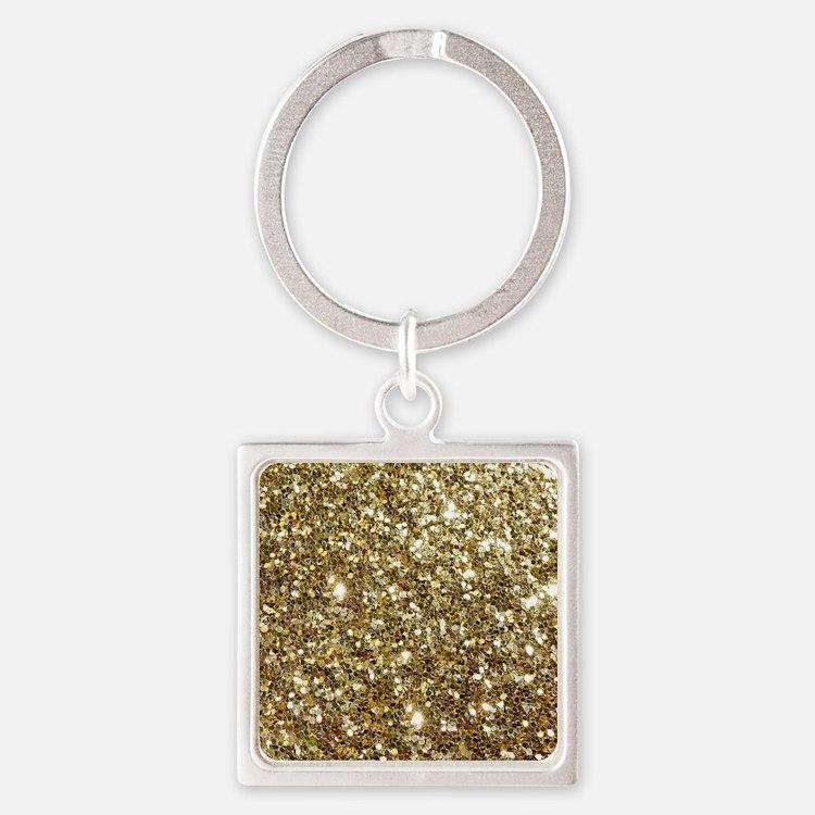 Realistic Gold Sparkle Glitter Square Keychain