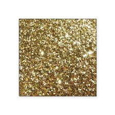 "Realistic Gold Sparkle Glit Square Sticker 3"" x 3"""