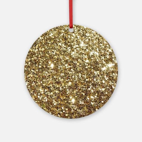 Realistic Gold Sparkle Glitter Round Ornament