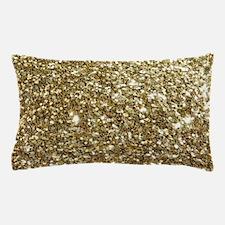 Realistic Gold Sparkle Glitter Pillow Case