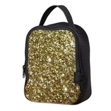 Realistic Gold Sparkle Glitter Neoprene Lunch Bag