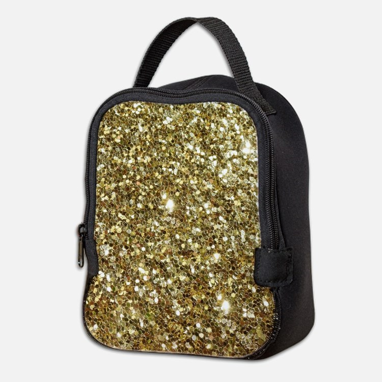 Realistic Gold Sparkle Glitter Neoprene Lunch Bag