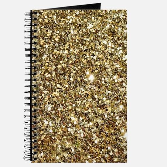 Realistic Gold Sparkle Glitter Journal