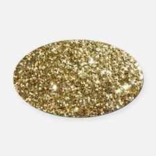 Realistic Gold Sparkle Glitter Oval Car Magnet