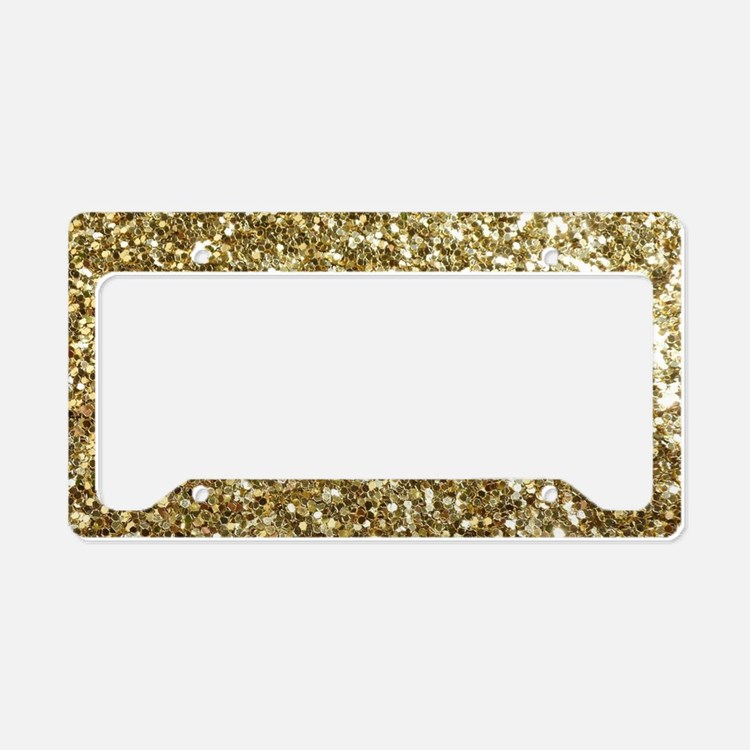 Realistic Gold Sparkle Glitte License Plate Holder