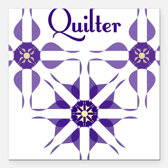 "Quilted Violet Square Car Magnet 3"" x 3"""