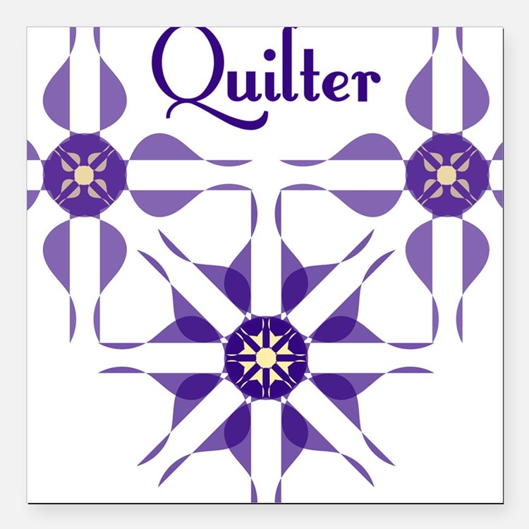 """Quilted Violet Square Car Magnet 3"""" x 3"""""""