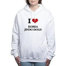 I love Korea Jindo Dogs Women's Hooded Sweatshirt