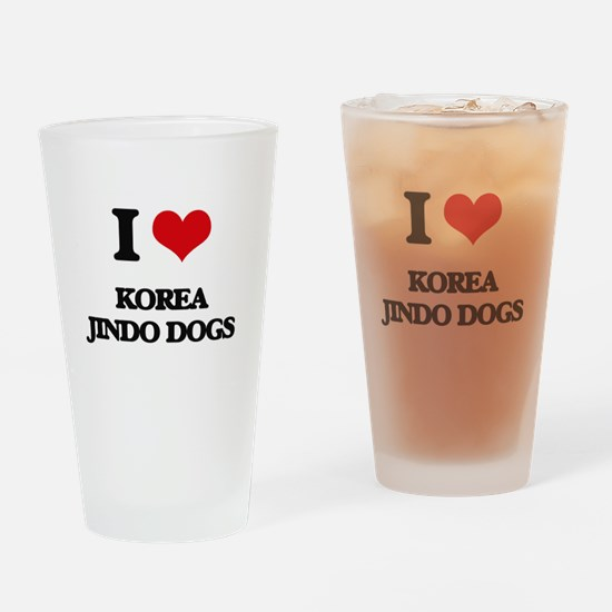 I love Korea Jindo Dogs Drinking Glass