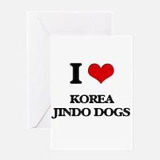 I love Korea Jindo Dogs Greeting Cards