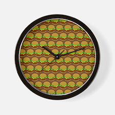 Fun Yummy Hamburger Pattern Wall Clock