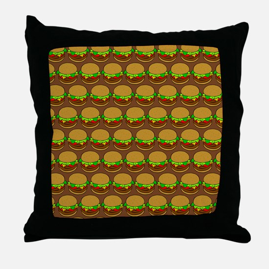 Fun Yummy Hamburger Pattern Throw Pillow