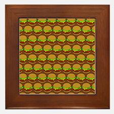 Fun Yummy Hamburger Pattern Framed Tile