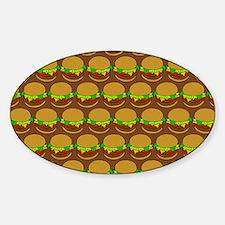 Fun Yummy Hamburger Pattern Sticker (Oval)