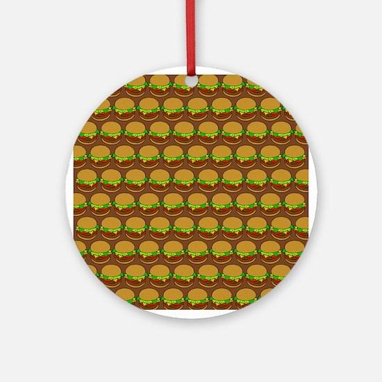 Fun Yummy Hamburger Pattern Ornament (Round)