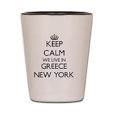 Keep calm we live in Greece New York Shot Glass