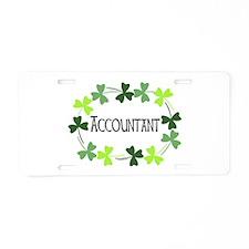 Accountant Shamrock Oval Aluminum License Plate