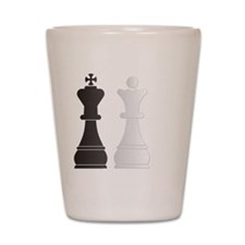 Black king white queen chess pieces Shot Glass
