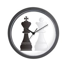 Black king white queen chess pieces Wall Clock