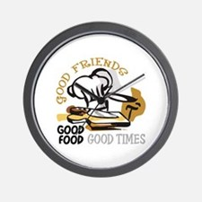 GOOD FRIENDS FOOD AND TIME Wall Clock