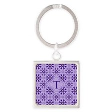 Quilted Violet Square Keychain