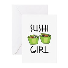 SUSHI GIRL Greeting Cards
