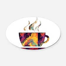 Colorful Cup of Coffee copy Oval Car Magnet