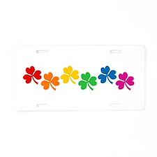 Rainbow Shamrocks Aluminum License Plate