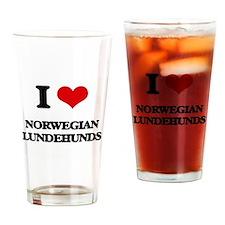 I love Norwegian Lundehunds Drinking Glass