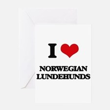 I love Norwegian Lundehunds Greeting Cards