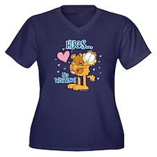 Hugs...No Wa Women's Plus Size V-Neck Dark T-Shirt