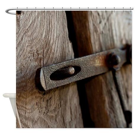 Barn Door Latch Shower Curtain